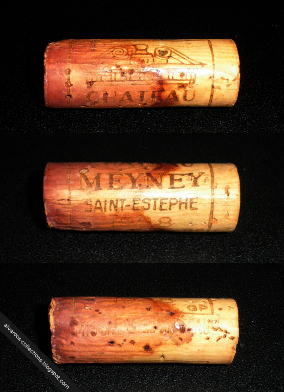 Destroyed wine cork: Chateau Meyney (Saint-Estephe) 1998