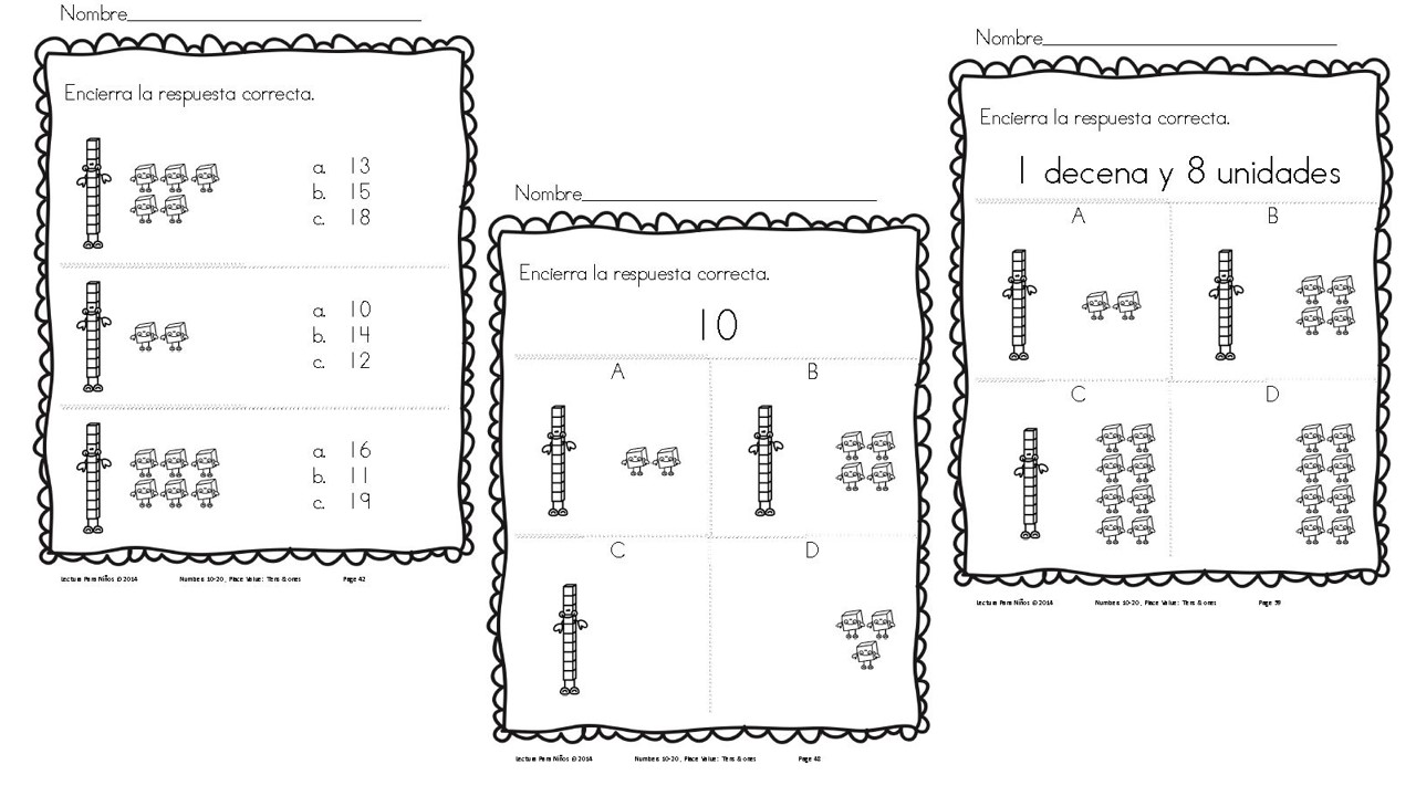Free Spanish Place Value Math Pack