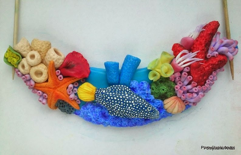 fimo, premo, in progress, reef, necklace, polymer clay,