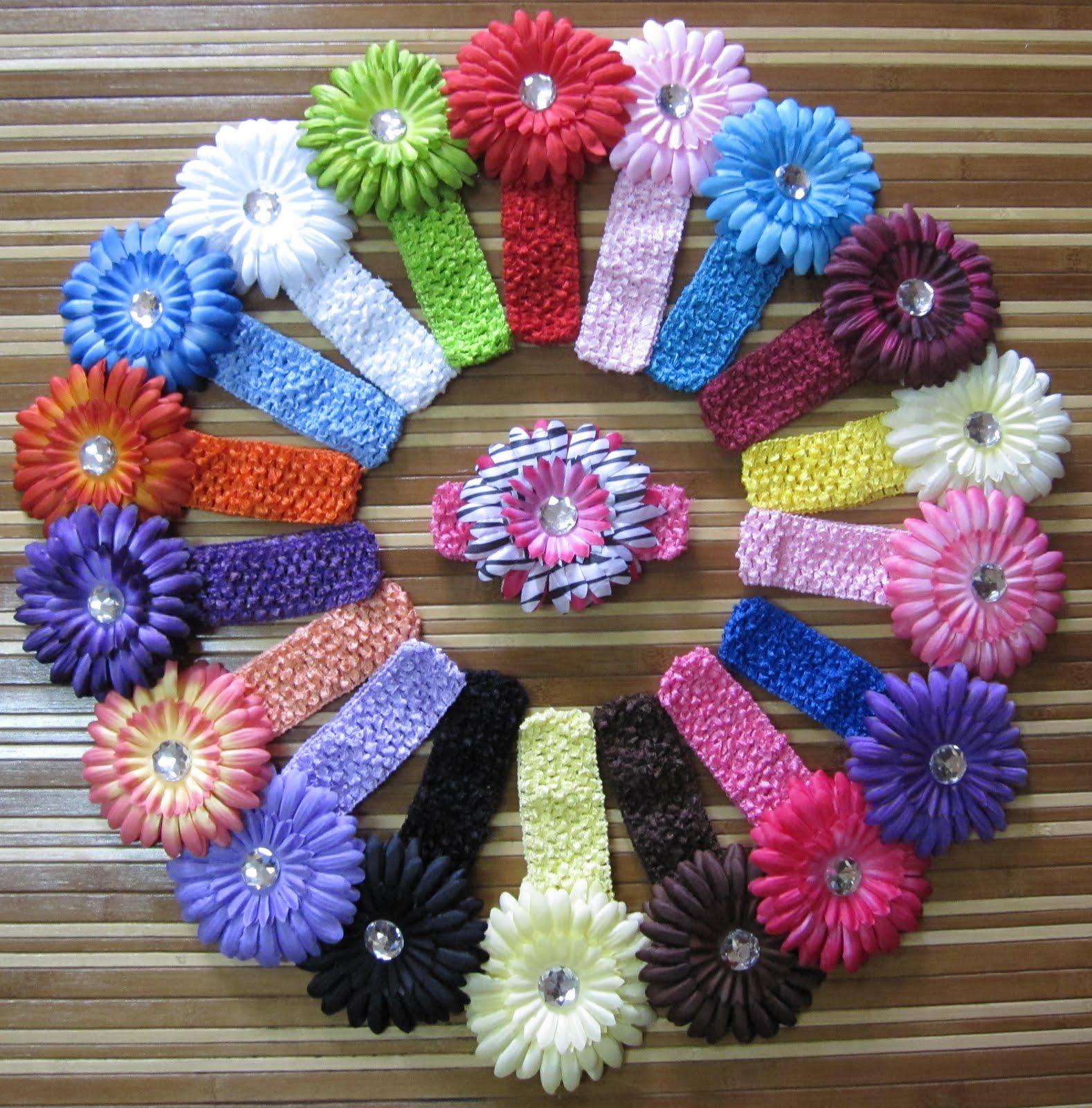 """baby comel sentiasa cute bergaya: 1.5"""" crochet headbands + daisy"""