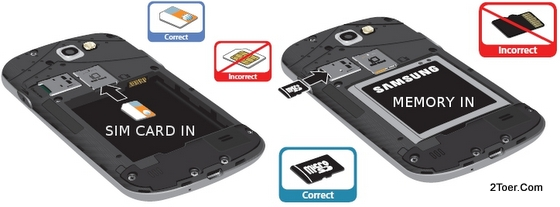 Insert SIM Card, Insert microSD Memory Card on Samsung Galaxy Express