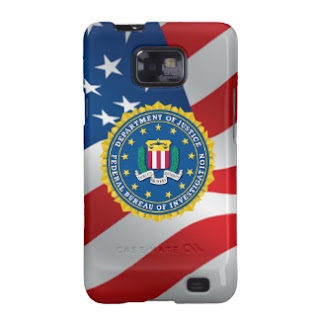 Samsung Galaxy with FBI symbol, iPhone, Motorola X, BlackBerry