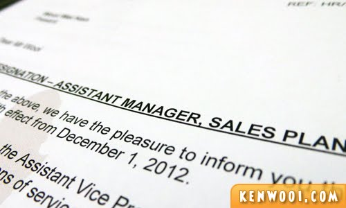assistant manager letter