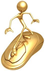 personnage doré sur une souris dorée