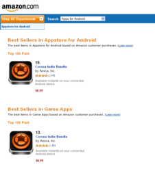 Corona Indie Bundle in Amazon Appstore for Android