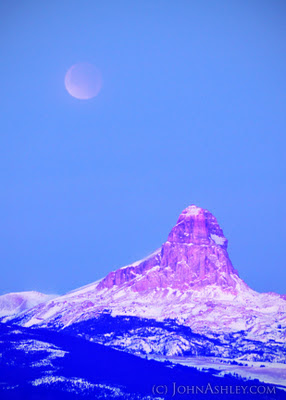 Lunar eclipse in the general vicinity of Chief Mountain (c) John Ashley