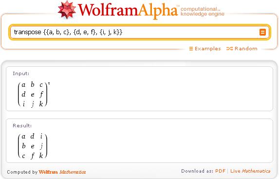 Wolfram|Alpha по-русски. Транспонированная матрица.