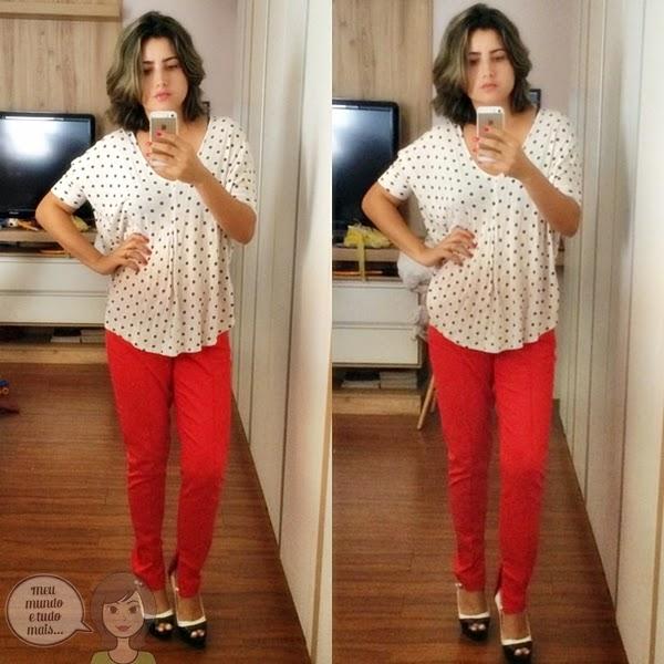 Calça vermelha e blusa branca