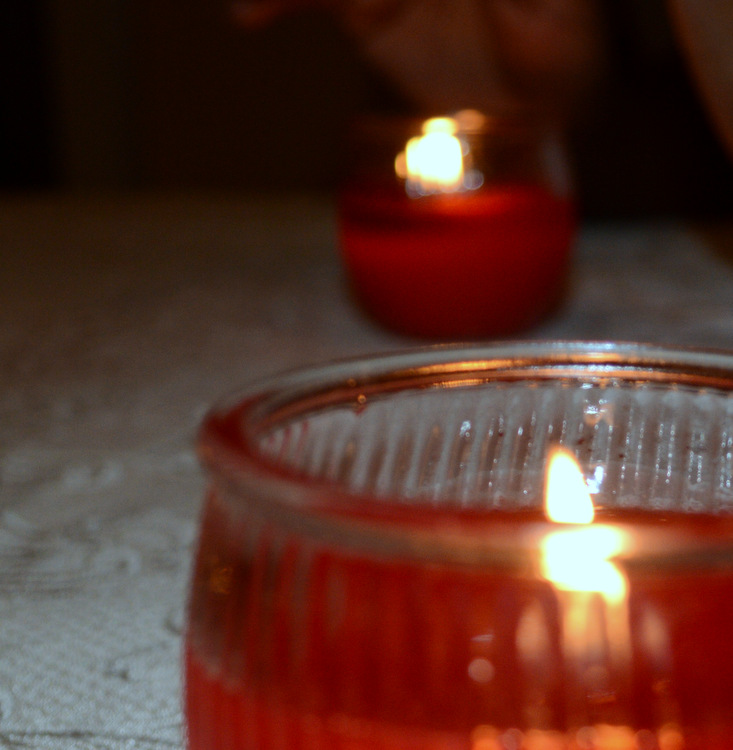 close up of red candles
