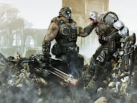 Clayton Carmine choking a locust in Gears of War 3