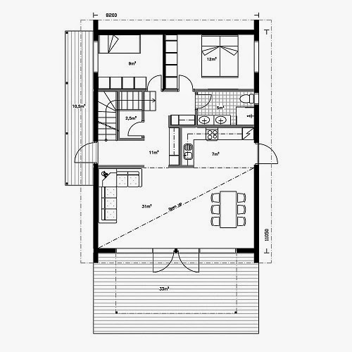 Planos de casas gratis planos casa con buhardilla de 90 m2 for Plano casa moderna 90m2