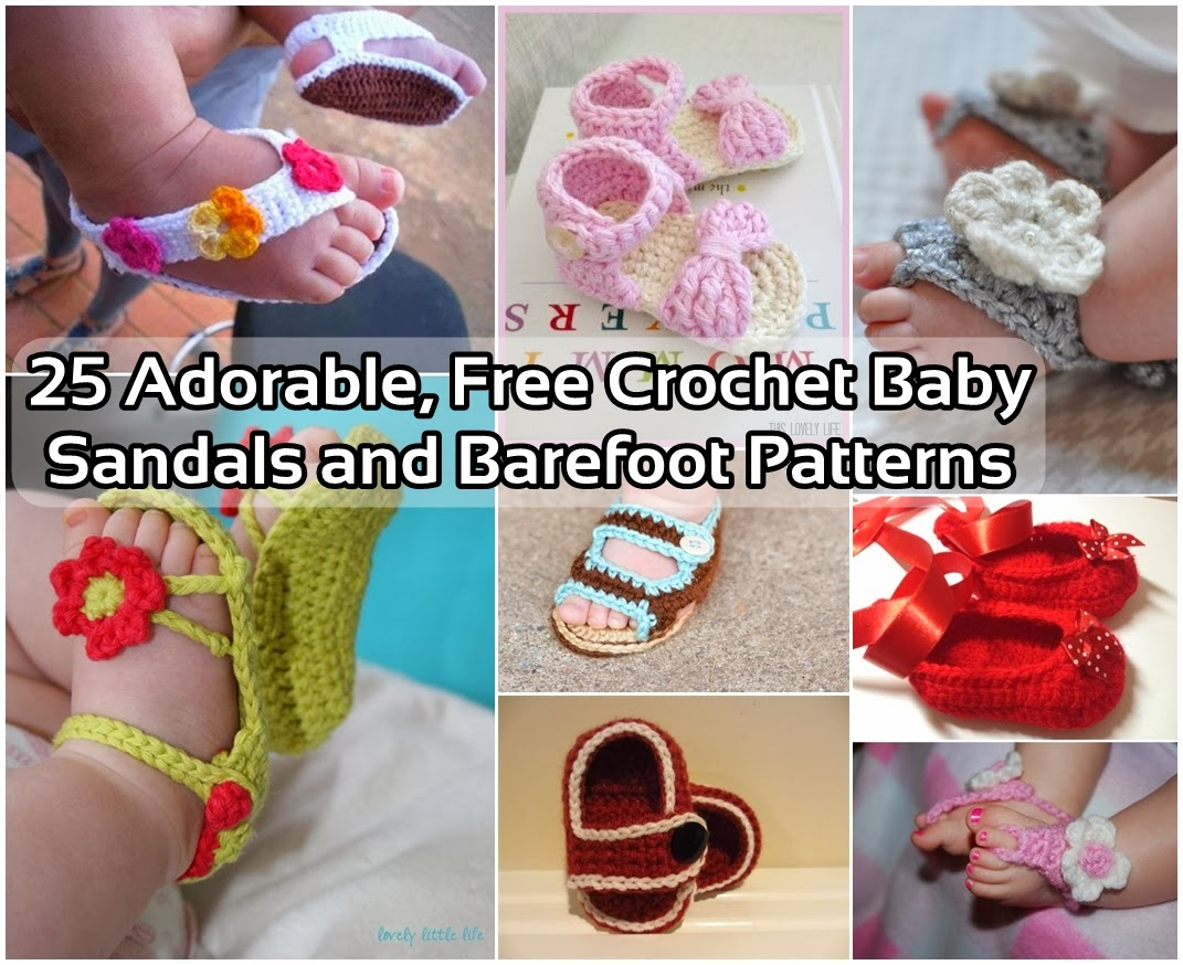 25 Adorable, Free Crochet Baby Sandals and Barefoot Patterns