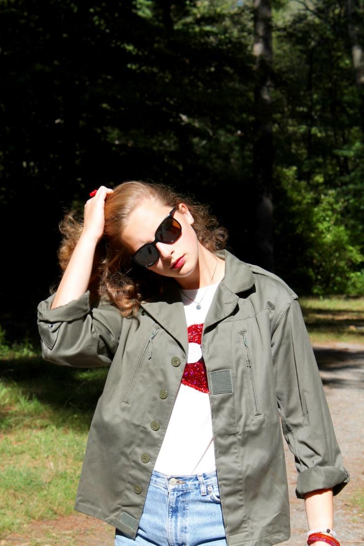 Red lip printed shirt, red espadrilles, Ralph Lauren high waisted denim shorts