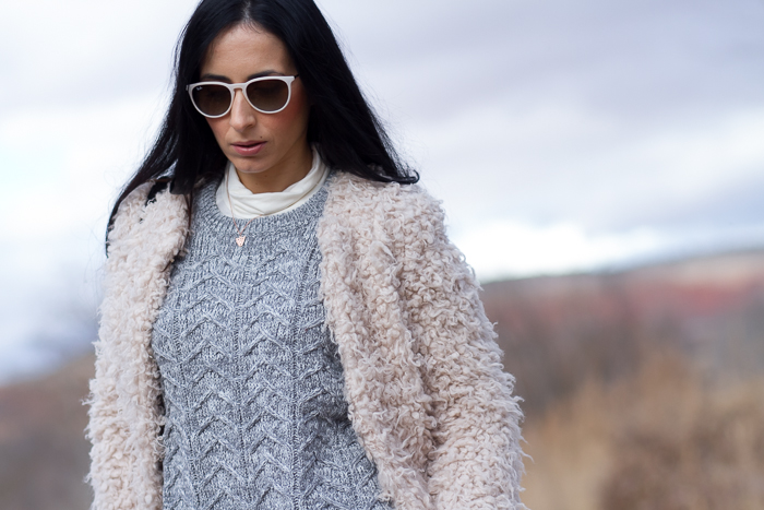 Faux Fur Coat Knitted Sweater and Ray Ban Erika Look Fashion Blogger withorwithoutshoes