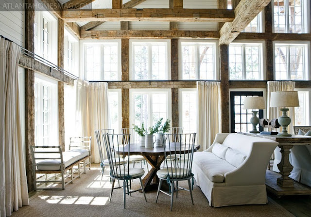 Beautiful Light Living And Dining Room With Wooden Beams