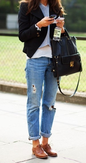 Boyfriend jeans with Flat Oxford shoes and a short boyish jacket
