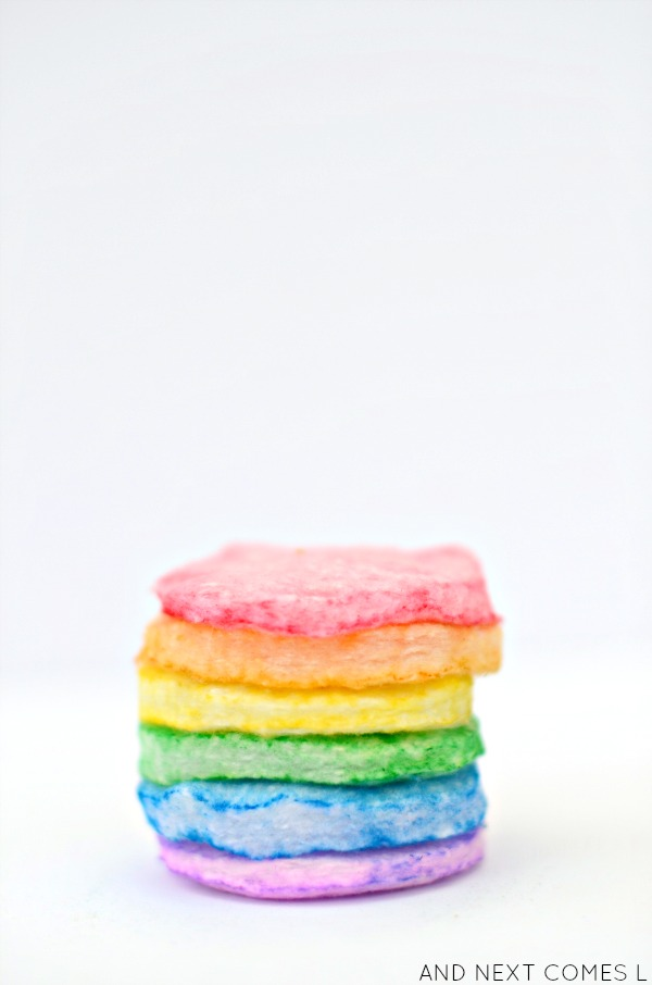 DIY rainbow scented cotton pads for a matching game for kids from And Next Comes L