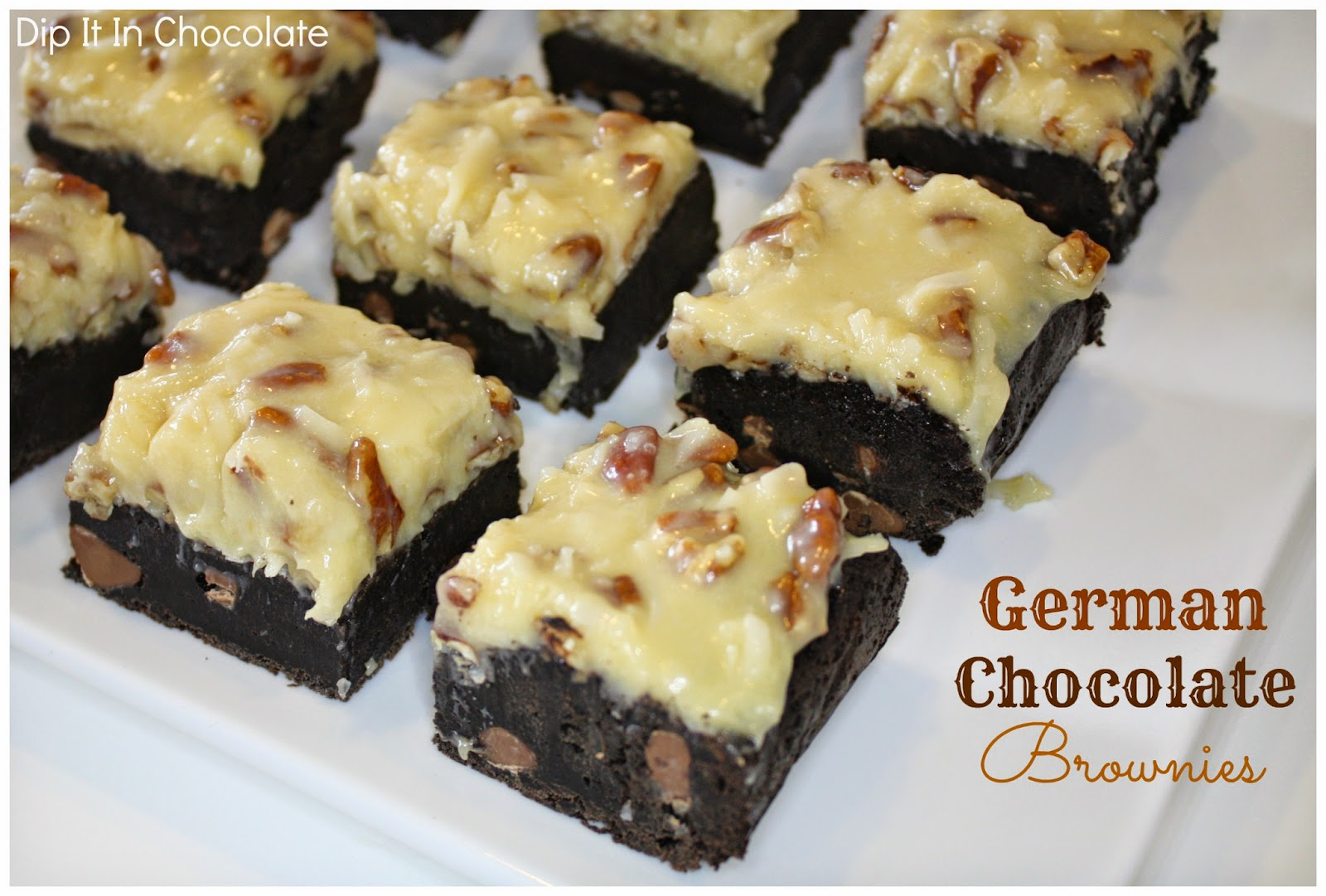 German Chocolate Brownies ~ Dip it in Chocolate