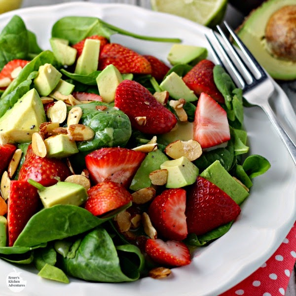 Strawberry, Avocado and Spinach Salad with Lime Poppy Seed Dressing | Renee's Kitchen Adventures - Healthy recipe makes a great meatless lunch or side dish!