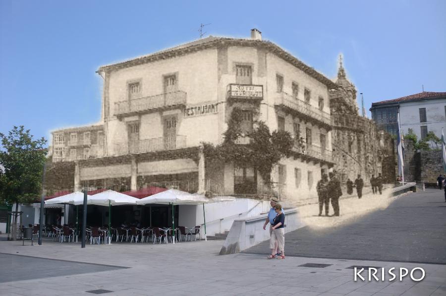 montaje de foto antigua y actual del edificio del batzoki de Hondarribia
