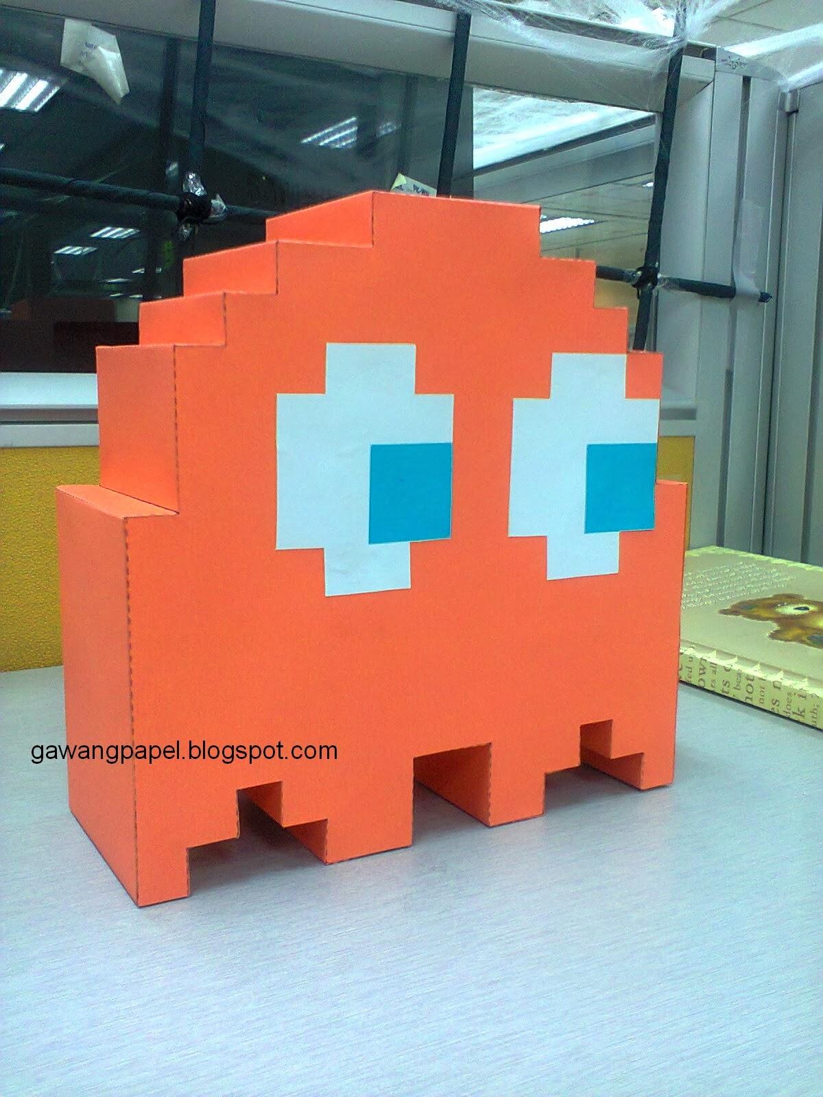 8Bit PacMan Ghosts Papercraft