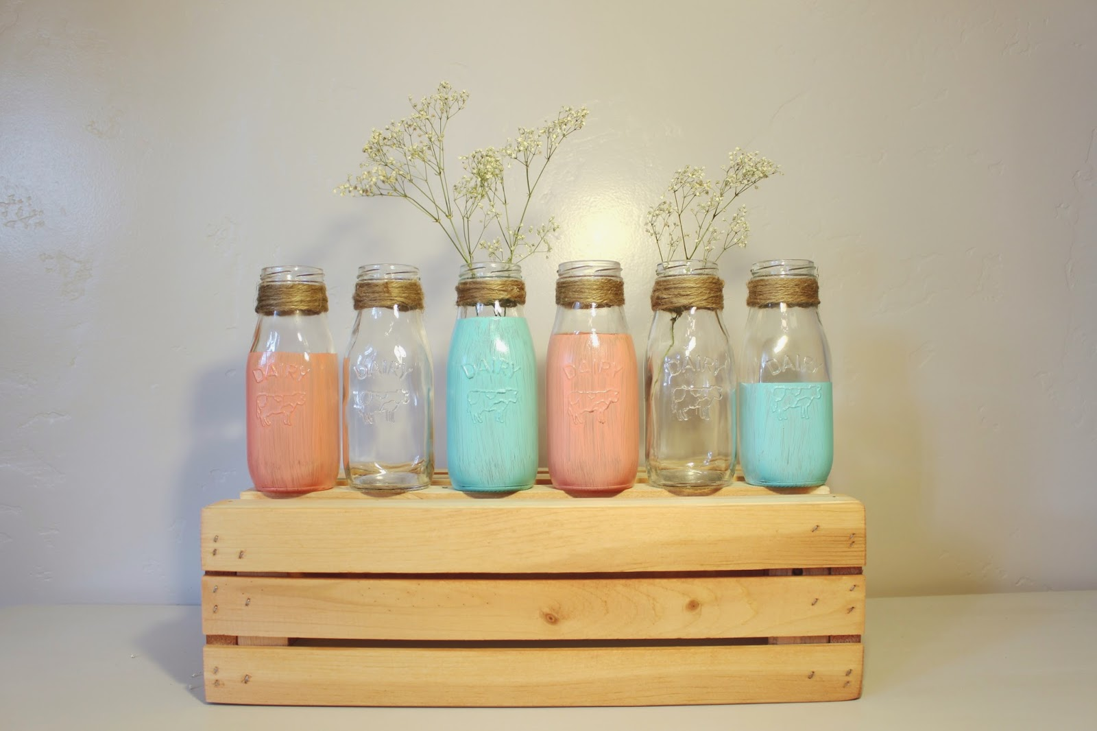 mini milk jugs, mini hand painted milk jugs, rustic milk jugs, rustic milk bottles, milk bottle decor, small painted milk bottles, turquoise milk jugs, coral milk jugs, coral and turquoise milk jugs, country wedding decor, rustic wedding decor, milk jug wedding decor, dairy bottle wedding decor