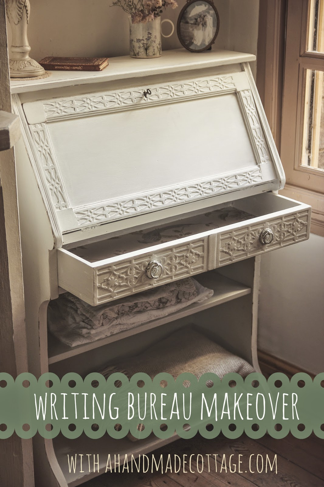 a handmade cottage weekend diy project writing bureau makeover as featured on the laura. Black Bedroom Furniture Sets. Home Design Ideas