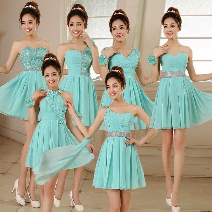 6-Design Turquoise Glittering Crochet Lace Bridesmaids Midi Dress