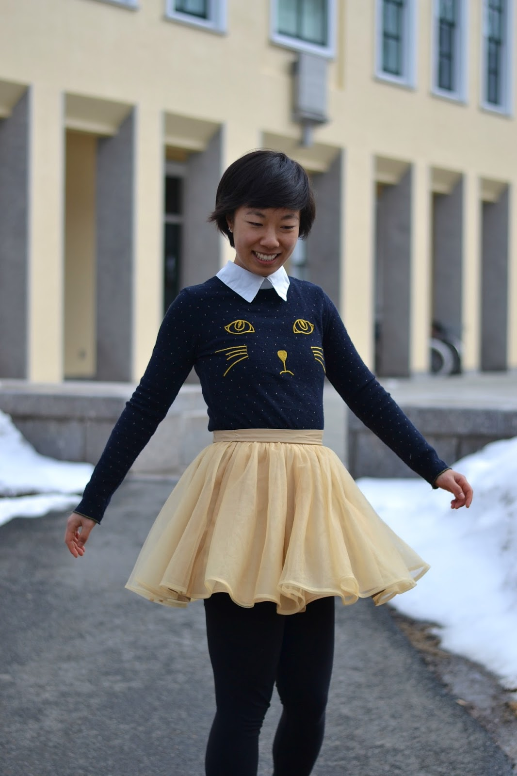 cat sweater, tulle skirt