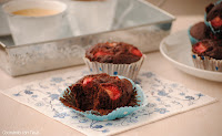 Muffins de chocolate y fresas