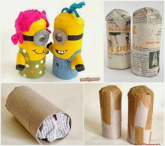 Boneco Minions Com Rolos De Papel Higiênico Artesanatos Reciclagem
