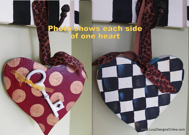 hand painted wooden heart ornament