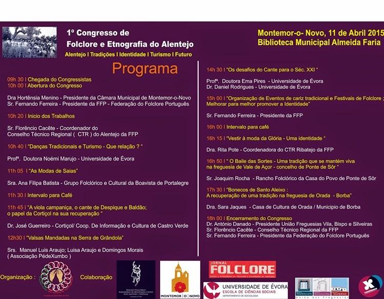 Programa do 1º Congresso de Folclore e Etnografia do Alentejo