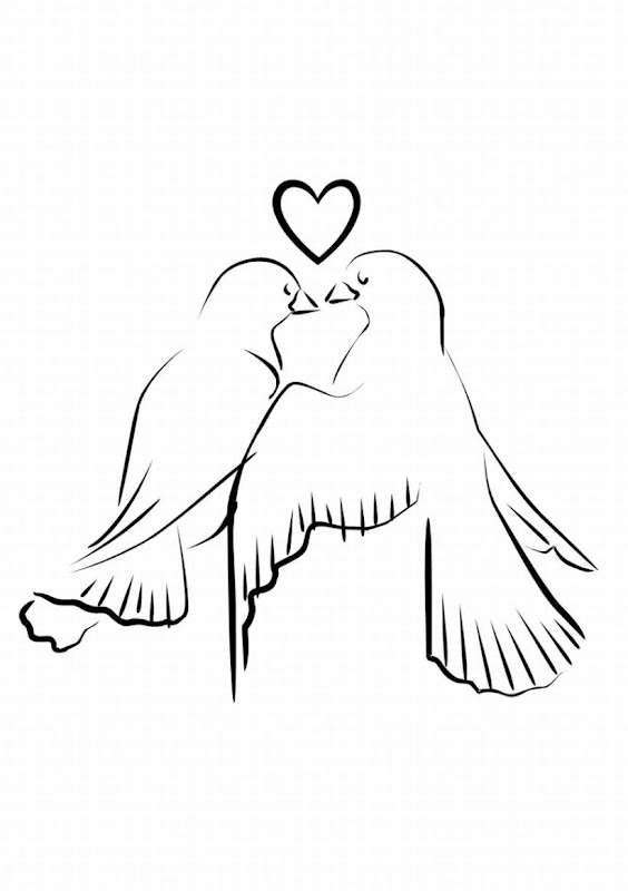 Wedding Coloring Pages - Wedding Love Dove title=