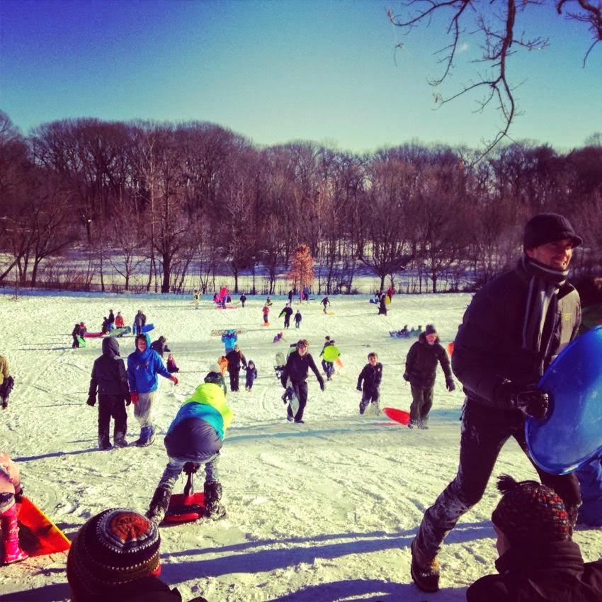 Sledding in Prospect Park