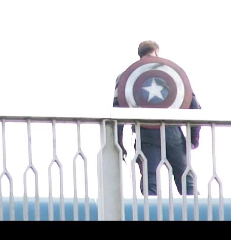 """Foto del rodaje de una escena del Capitán America en  """"Los Vengadores: La Era de Ultron"""""""