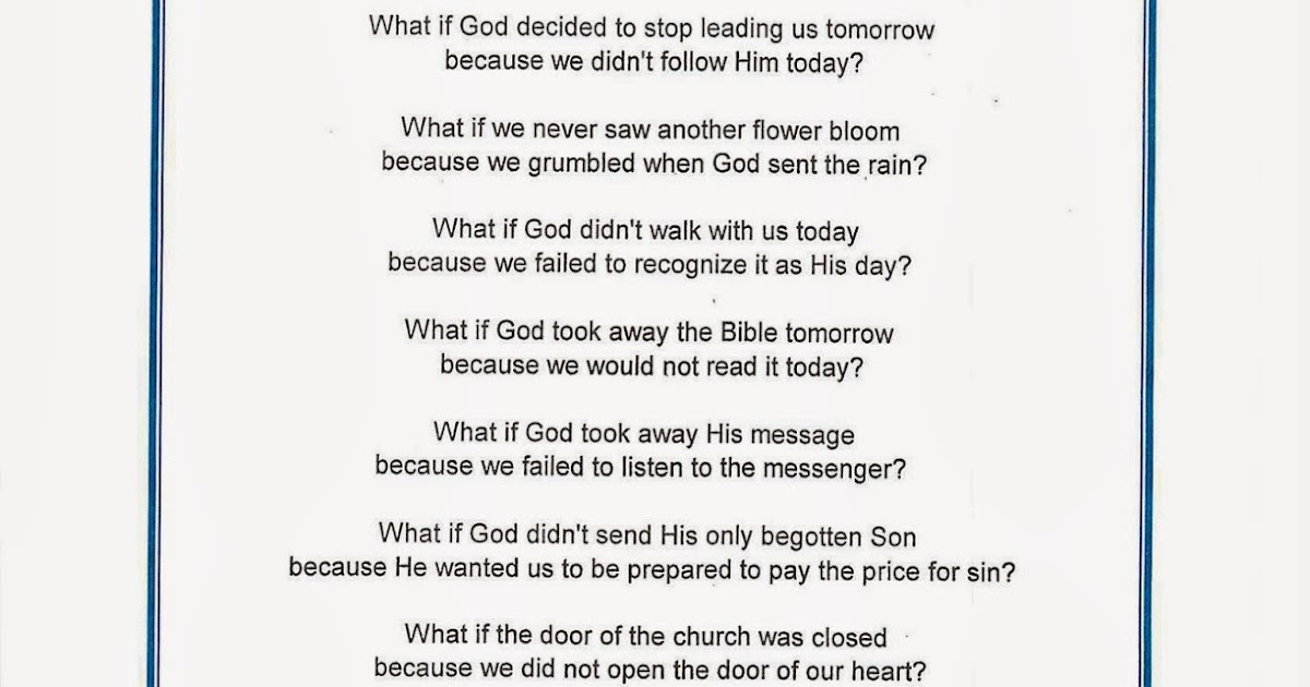 Literature Missionary Connection: What If? (Poem about God ...