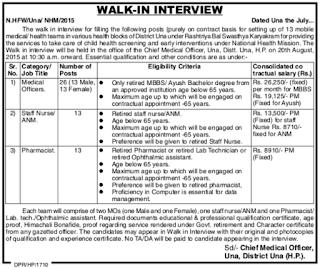 NHM Himachal Pradesh Walk in Interview 2015