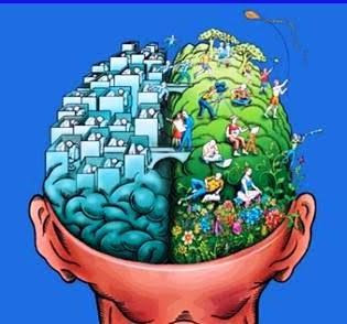 picture of an animated brain workers on one side and people playing outside on the other