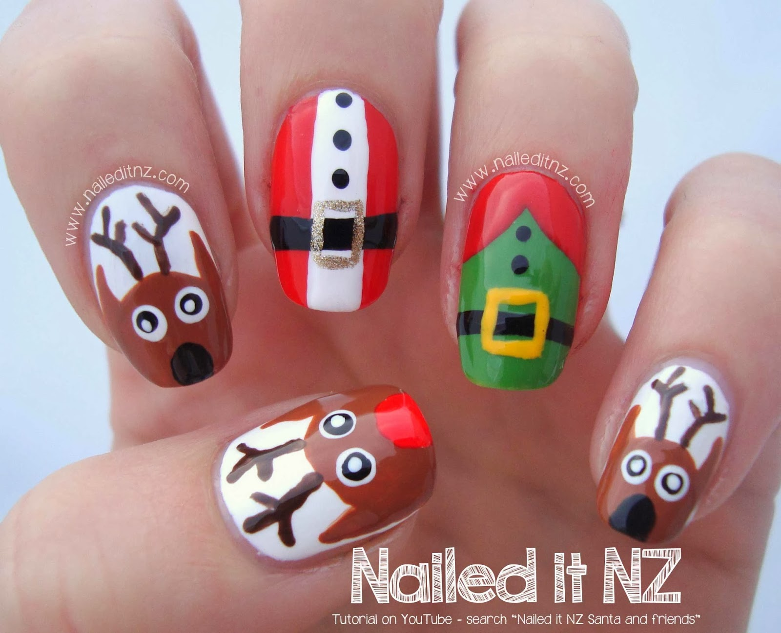 Santa And Friends Nail Tutorial 12 Days Of Christmas Art Challenge