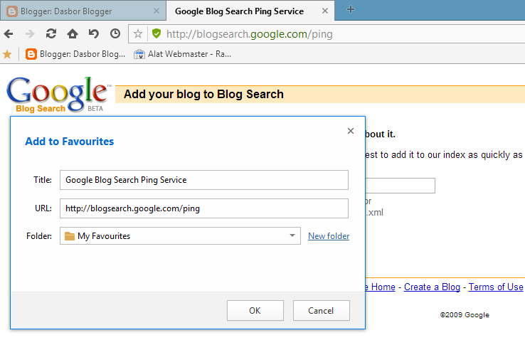 Bookmark Google Blog Search Ping Service