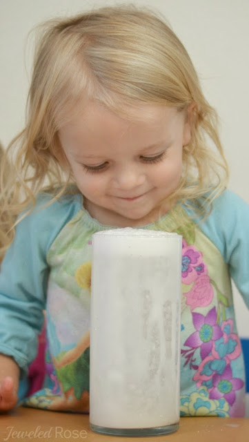 Make a snow storm in a jar- FUN Winter Science for kids!