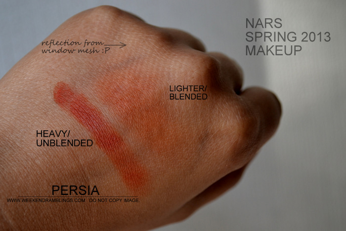NARS Spring 2013 Makeup Collection Indian Beauty Blog Darker Skin Swatches Photos Paprika Orange Matte Single Eyeshadow Persia Blended