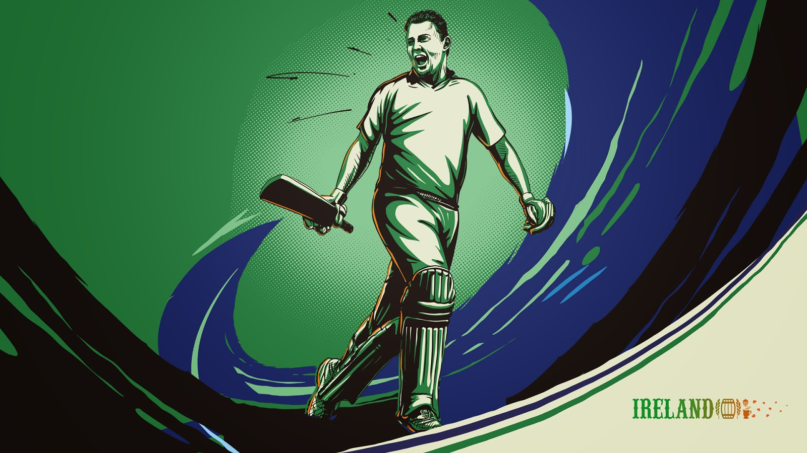 William Porterfield Ireland Cricketer illustration sketch