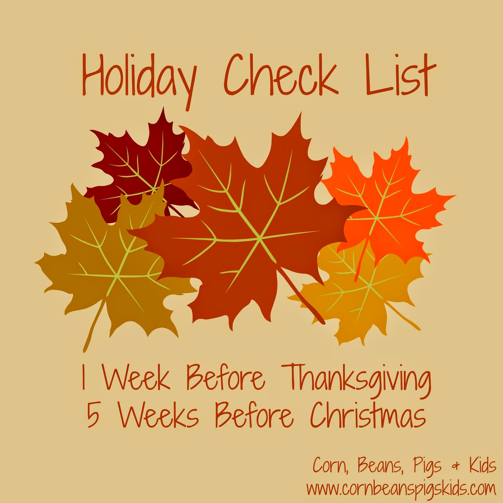 Holiday Check List - 1 Week Before Thanksgiving