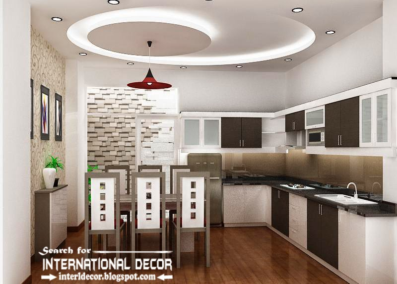 False ceiling pop design for modern kitchen for Ceiling ideas kitchen