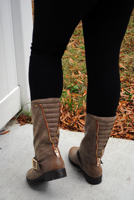 Fall Camo | Truly Yours, A. - An outfit post featuring a camo t-shirt, denim shirt, black pants and brown moto boots.
