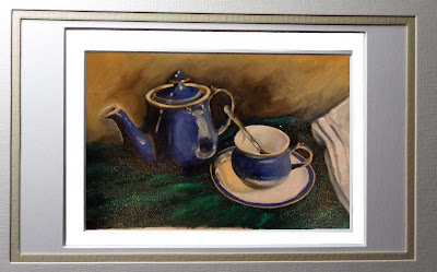 Daily painter.Painting a day.PAD Movement.Blue Denby Teapot and cup with saucer sitting on green cloth with French tea towel.Original oil painting.Small.Unique.