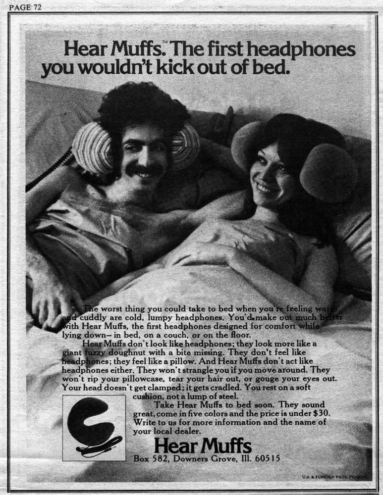 Propaganda do Hear Muffs apresentada nos anos 70. Um fone de ouvido integrado a um travesseiro.