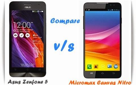 Comparison Micromax Canvas Nitro with Asus Zenfone 5